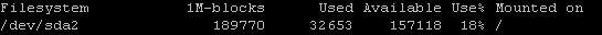 Festplattenkapazität des Servers