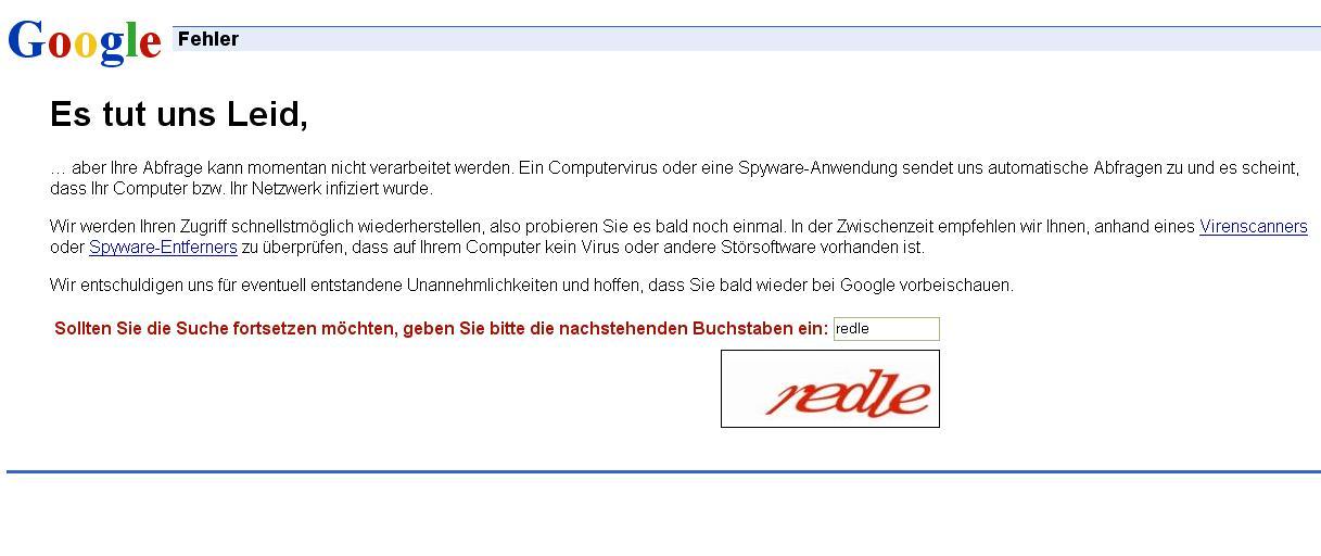Google - Es tut uns Leid