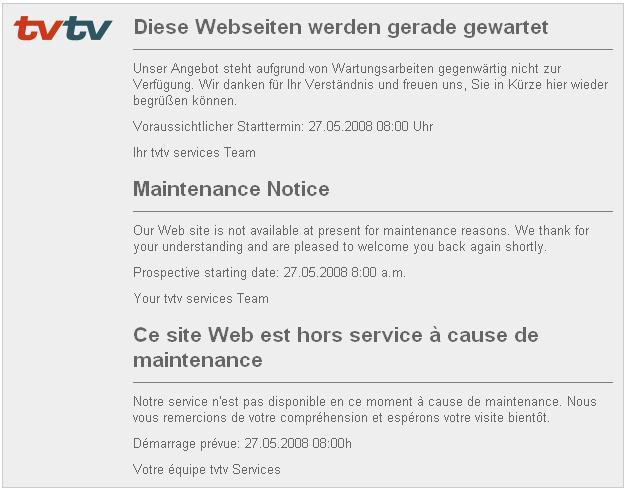 Wartungsarbeiten auf tvtv.de