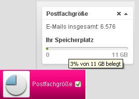 T-Online Widget Postfachgröße