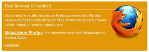 Wordpress 3.3 Browser Update Erinnerung