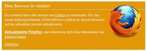 Wordpress 3.3 Browser Update Erinnerung