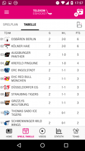 Telekom Eishockey App: Tabelle